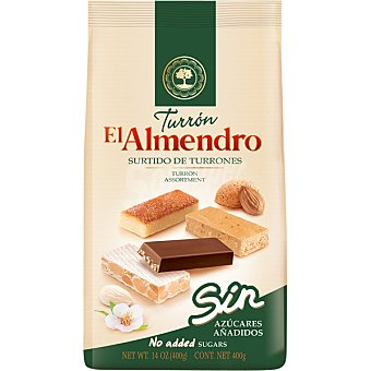 El Almendro Surtido de turrones 4 variedades en porciones sin azúcar Estuche 400 g