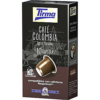 Tirma Cápsulas Café Colombia Tueste Natural Compatibles con Máquinas Nespresso 10 c - Paquete 50 g