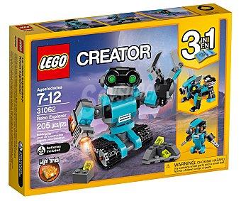 LEGO Juego de construcciones 3 en 1 con 205 piezas Robot explorador, Creator 31062 lego