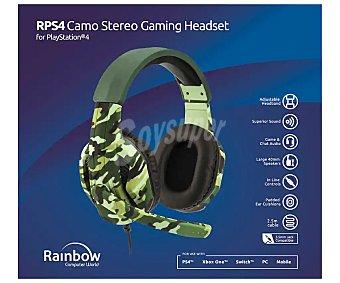 Rainbow Auriculares estéreo para PS4, Xbox One, Switch, PC y mobile, con micrófono incorporado, diseño en verde camuflaje, .