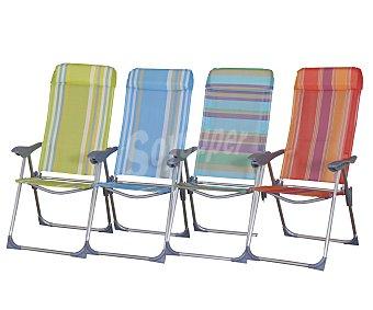 GARDEN STAR Silla plegable regulable para playa y camping, fabricada en aluminio, tubo oval, asiento y respaldo de textileno con rayas y de diferentes colores 1 unidad