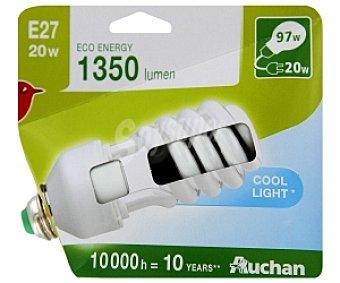 Auchan Bombilla bajo consumo espiral 20 Watios, casquillo E27 (grueso), luz blanca 1 unidad