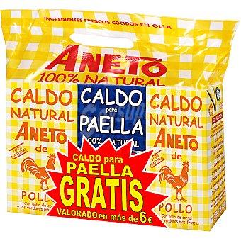 Aneto Caldo natural de pollo pack 2 envases 1 l con regalo de 1 l de caldo para paella Pack 2 envases 1 l