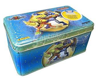 Panini Caja metálica azul, Silver box, con 50 cartas, cartas especiales incluidas, del juego de cartas coleccionables Batalla de cazadores Invizimals Invizimals Silver box