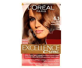 Excellence L'Oréal Paris Tinte de color rubio oscuro ceniza nº 6.1 Pack de 2 unidades