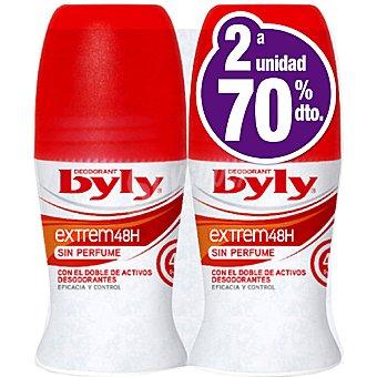 Byly Desodorante roll-on Extrem 48h sin perfume ( pack especial 2ª unidad al 70% ) Pack 2 envase 50 ml