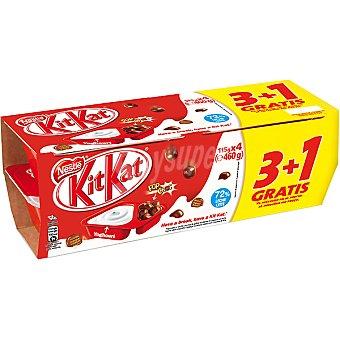 Kit Kat Nestlé Yogur natural con bolitas de chocolate + 1 unidad gratis Pack 3 unidades 115 g