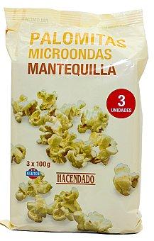 Hacendado Palomitas microondas mantequilla Pack 3 x 100 g - 300 g