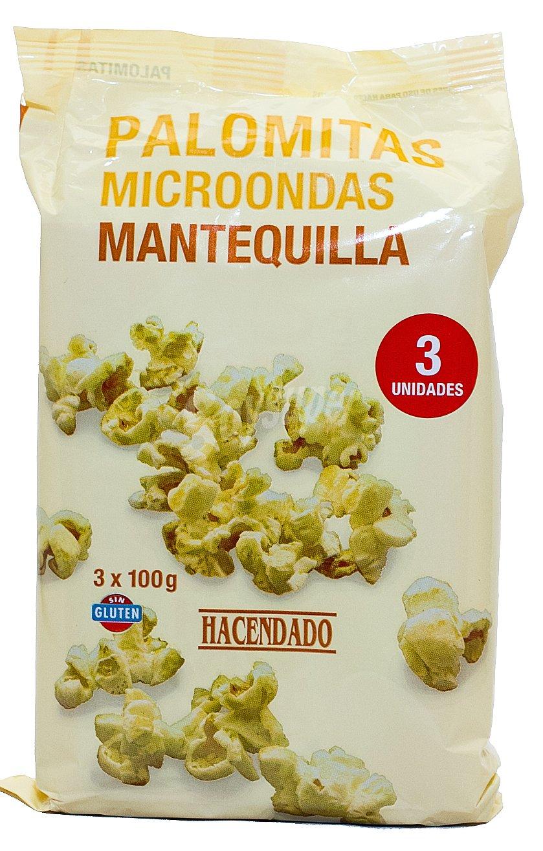 Hacendado Palomitas microondas mantequilla Pack 3 x 100 g