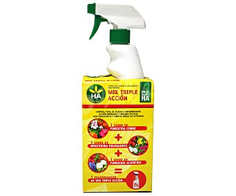 HA-Huerto y Jardín Triple acción químico soluble, 3 sobres: Fungicida cobre+insecticida polivalente+fungicida acaricida 1 Unidad