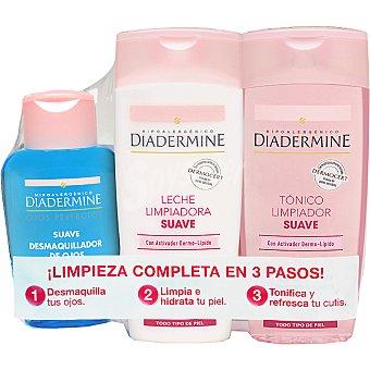 Diadermine Pack limpieza facial con leche limpiadora suave con activador dermo lípido + tónico limpiador suave frasco 200 ml + desmaquillador de ojos suave Frasco 200 ml