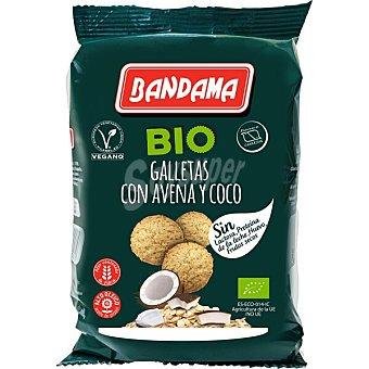 Bandama Bio galletas con avena y coco ecológicas y sin lactosa sin proteína de la leche, ni huevo ni frutos secos Bolsa 150 g