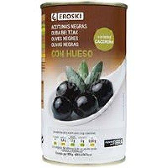 Eroski Aceitunas negras con hueso Lata 185 g