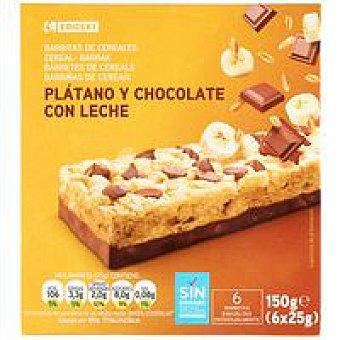 Eroski Barritas de cereal-plátano Caja 150 g