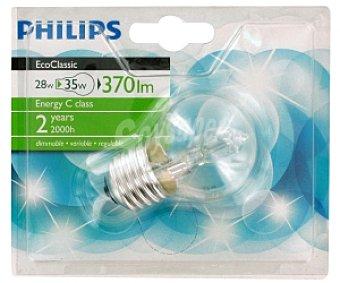 Philips Bombilla halógena Ecoclassic esférica 28W, blanca cálida, E27 230V 1u