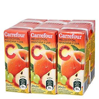 Carrefour Zumo melocotón uva Pack 6x20 cl