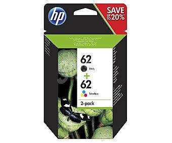 HP Cartucho de tinta Pack 62 negro + 62 color (cian, magenta y amarillo), compatible con impresoras: Envy 5640 / 7640, Officejet 5740