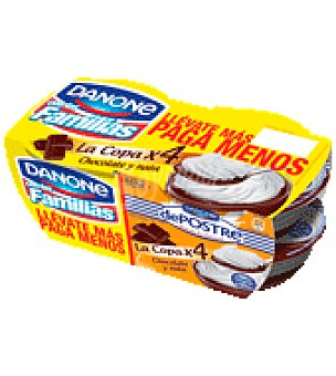 De Postre Danone Crema de chocolate con nata 'La copa' Pack de 4x100 g