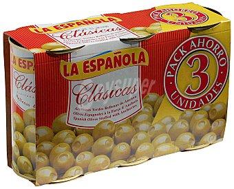 La Española Aceitunas rellenas de anchoa neto escurrido Pack 3 latas 150 g