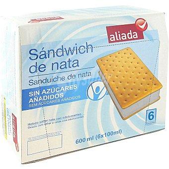 Aliada Sándwich con helado de nata sin azúcares añadidos estuche 600 ml 6 unidades