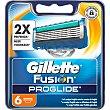 Recambio de maquinilla de afeitar  Estuche 6 uds Gillette Fusion Proglide
