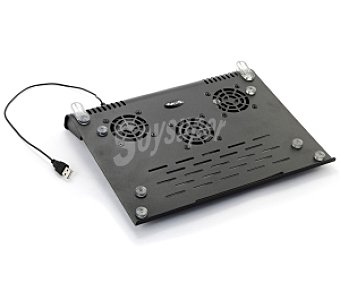 Ngs slimstand Base Refrigeradora para Portátil de Metal con 3 Ventiladores, botón on/off, Conexión Usb