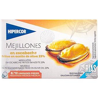 Hipercor Mejillones de las rías gallegas en escabeche fritos en aceite de oliva 8-12 piezas lata 69 g neto escurrido Lata 69 g neto escurrido