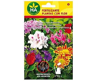HA-Huerto y Jardín Fertilizante soluble plantas con flores, sobre para preparar 5 Litros 20 Gramos
