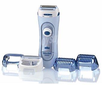 BRAUN SILK-ÉPIL LS 5160 Afeitadora femenina, uso en seco y en mojado, alimentación a pilas, incluye 4 accesorios