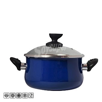 Magefesa Olla con tapa de acero esmaltado Mod Danubio 24 cm azul 1 ud