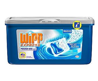 Wipp Express Detergente en cápsulas con polvo activo y gel quitamanchas 33 unidades