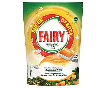 Fairy Lavavajillas concentrado limpio y fresco con fragancia de naranja 42 unidades