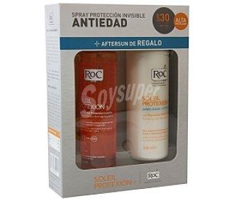 RoC Spray Solar Protección Invisible Antiedad FP 30 Solar Protexion 150 Mililitros + Regalo de Leche Reparadora 200 Mililitros