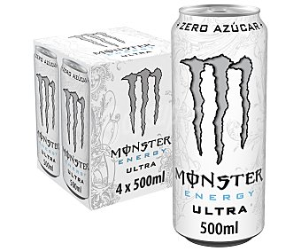 Monster Energy Ultra White bebida energética con taurina y ginseng Pack 4 latas 50 cl