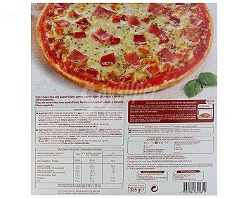 Auchan Pizza de casa fina con jamón y queso 335 gramos