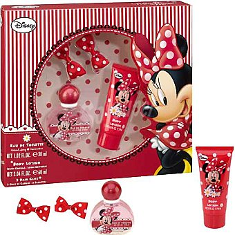 DISNEY Minnie eau de toilette infantil + loción corporal tubo 60 ml + 2 clips del pelo Spray 30 ml