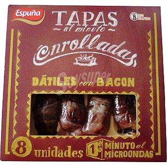 Espuña Tapas al Minuto enrolladas dátiles con bacon sin gluten envase 80 g 8 unidades