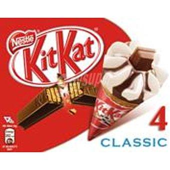 Kit Kat Nestlé Cono con helado de vainilla y chocolate con barra Kit Kat Barra 4 unidades (400 ml)