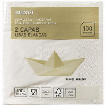 Eroski Servilletas blancas 2 capas Paquete 100 unid