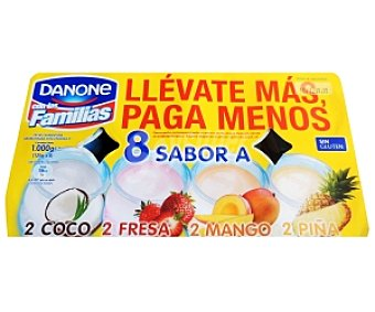 Oikos Danone Yogur varios Sabores (Fresa-Coco-Mango-Piña) 8x125g