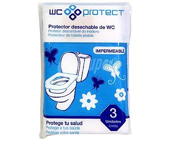 WC PROTECT Protector desechable del inodoro impermeable y de bolsillo barrera bacteriológica Envase 3 unidades