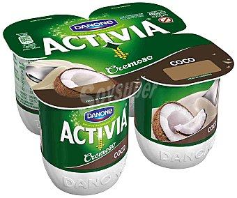 Activia Danone Yogur cremoso coco 4 unidades de 120 g