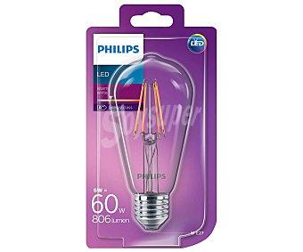 Philips Bombilla led esférica filamentos visibles, 6W, casquillo E27(grueso), luz cálida regulable philips