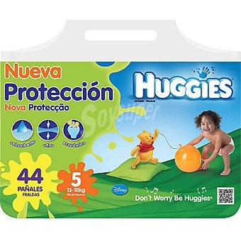 HUGGIES Nueva Protección pañales de 13 A 18 kg talla 5 paquete 44 unidades