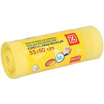 DIA Bolsa de basura con autocierre amarilla rollo 30 uds 30 litros