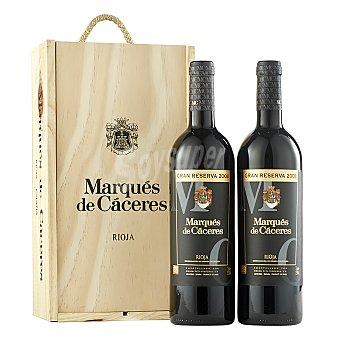 """Marqués de Cáceres Caja de madera con 2 botellas de vino D.O. Ca. """"rioja"""" tinto gran reserva Pack 2x75 cl"""