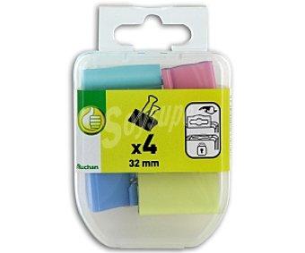 PRODUCTO ECONÓMICO ALCAMPO Pinzas Abatibles de 32 Milímetros y Varios Colores 4 Unidades
