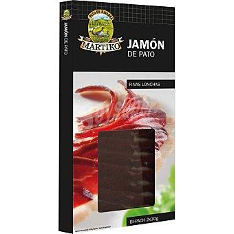 MARTIKO jamón de pato en finas lonchas envase 60 g pack 2X30 g
