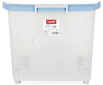 Tatay Caja de ordenación multiusos con tapa de pláctico color azul lavanda, tatay 60 litros