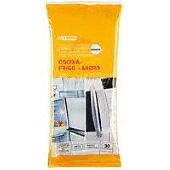 Eroski Toallitas limpia frigoríficos y microondas Paquete 30 unid